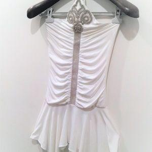 Sky Mini Dress Halter Jeweled White Small New